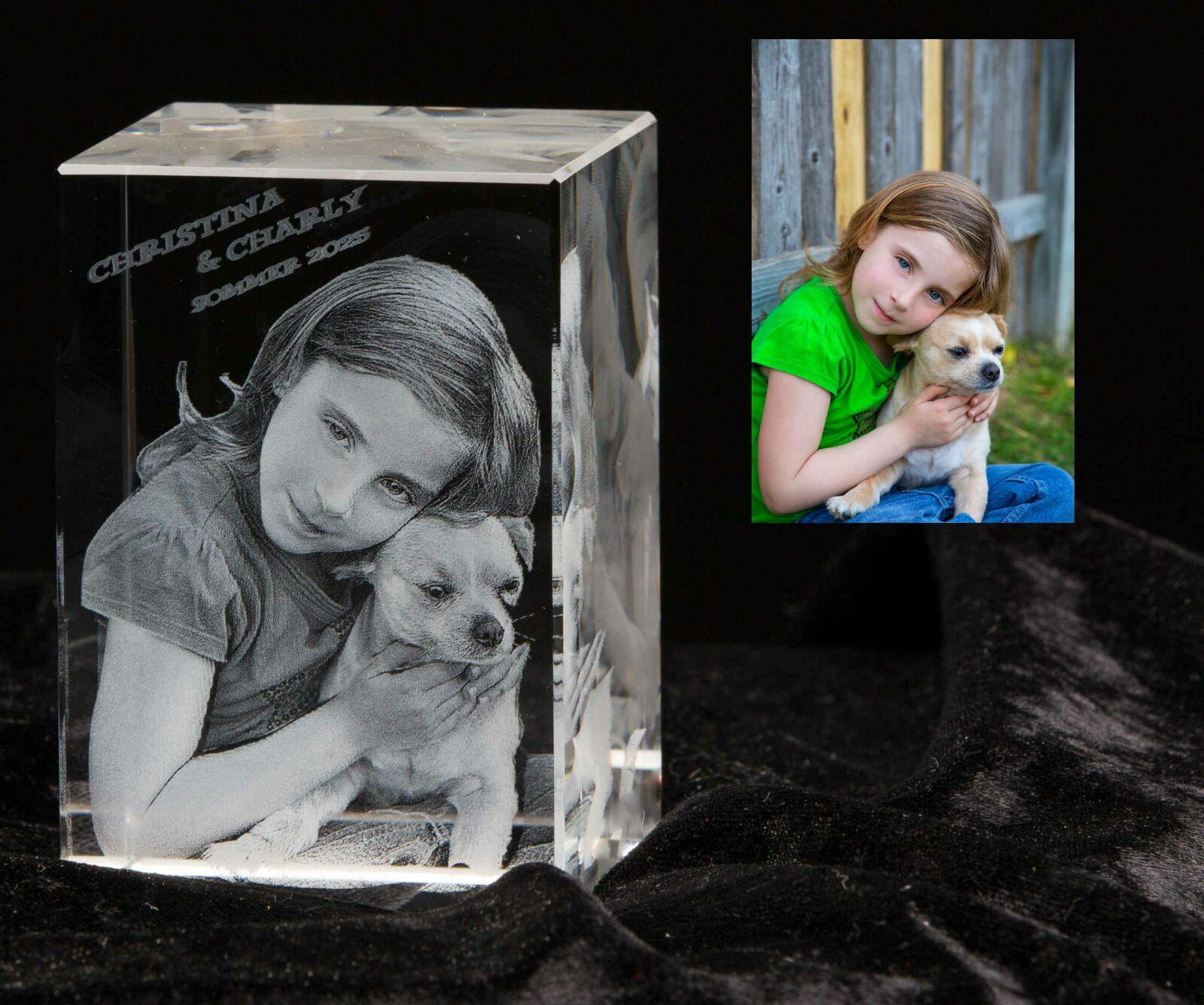 3D Gedenk-Kristall geeignet für 1-3 Personen mit frei wählbaren Wunsch