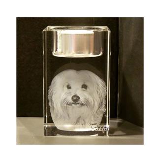 3D Gedenk-Kristall geeignet für 1 Person inklusvi Kerzennut
