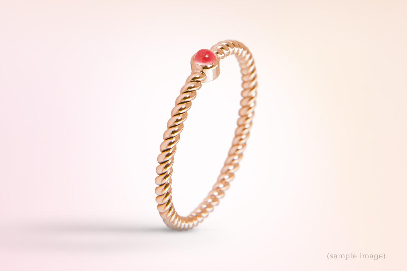702-Ring gelbgold Edlesteinfarbe rot Damenring gedreht