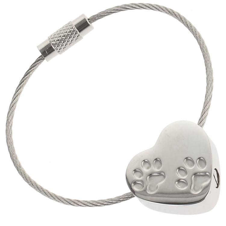Charismatum® Schlüssel Asche Anhänger Herz zwei Pfoten polierter Edelstahl Gravur AP 322 CST
